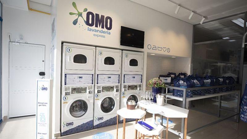 Inside an OMO branded laundromat in Brazil on launch day