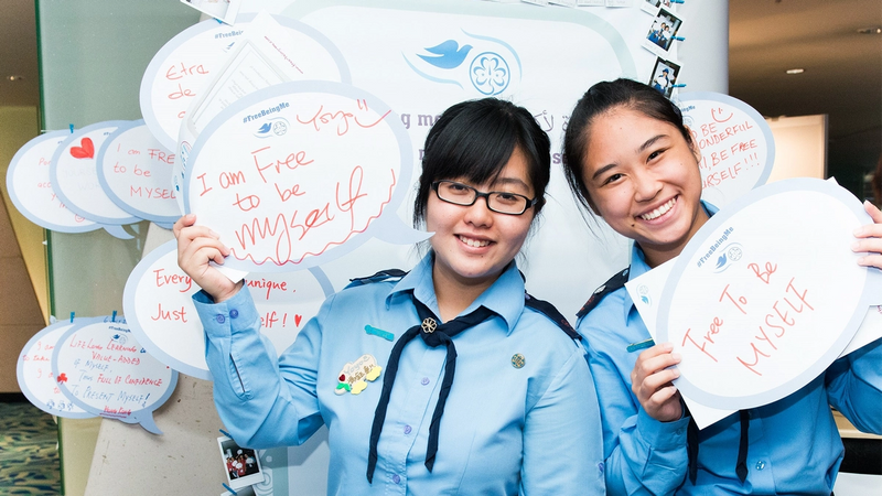 Two young girls in Girl Guide uniforms at a Free Being Me workshop
