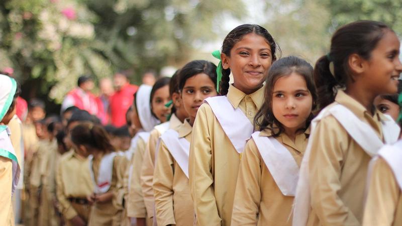 Line of schoolgirls in Pakistan