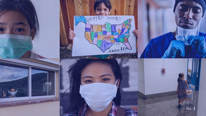 A collage of images featuring people wearing face masks and supporting communities affected by Covid-19