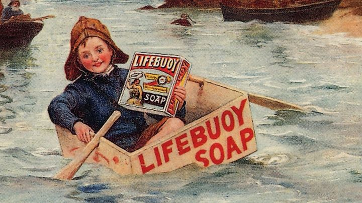 Painting of a boy in a lifebuoy soap box holding a lifebuoy product