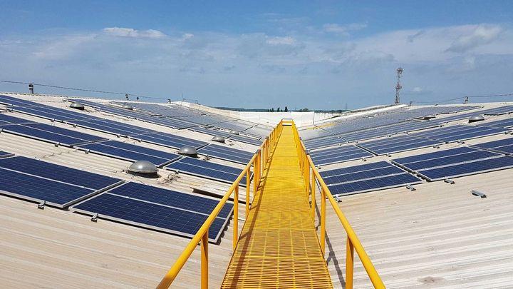 Solar panels on the roof of Unilever's Silvassa Detergent Factory, Silvassa, India.