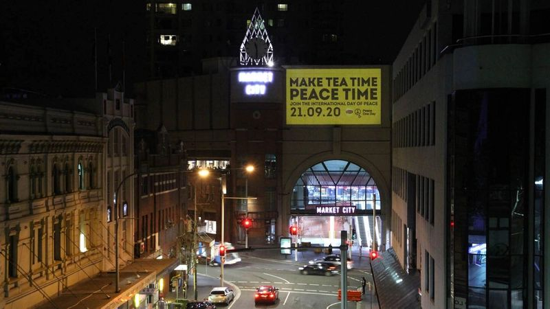Lipton beamed the message 'Make Tea Time Peace Time' onto the clock tower at Paddy's Market in Sydney, Australia.
