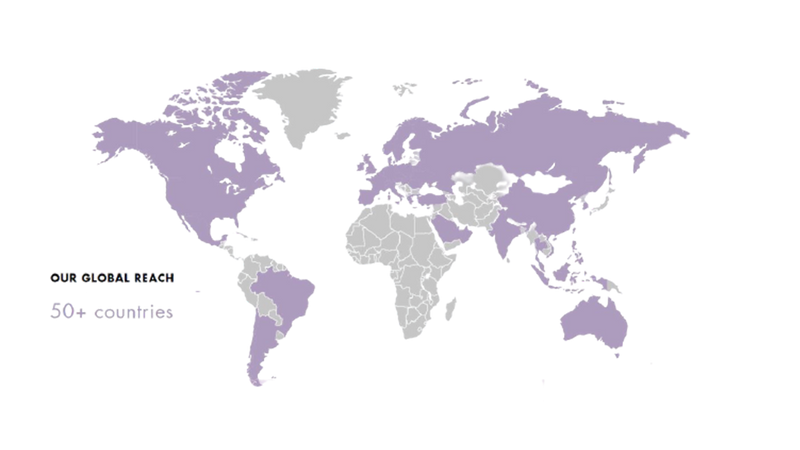 A map showing the countries in which Love Beauty and Planet is now sold