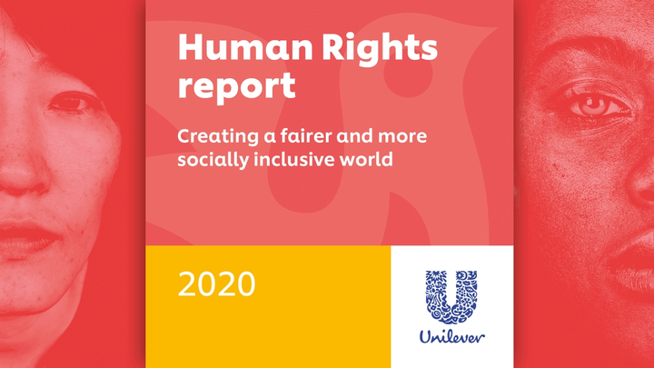 The cover of Unilever's Human Rights Report 2020