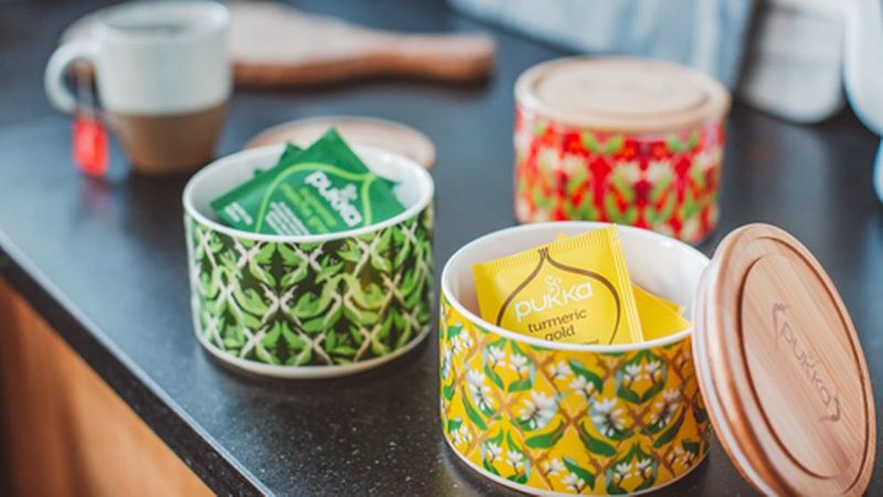 Pukka tea bags in a tea jar