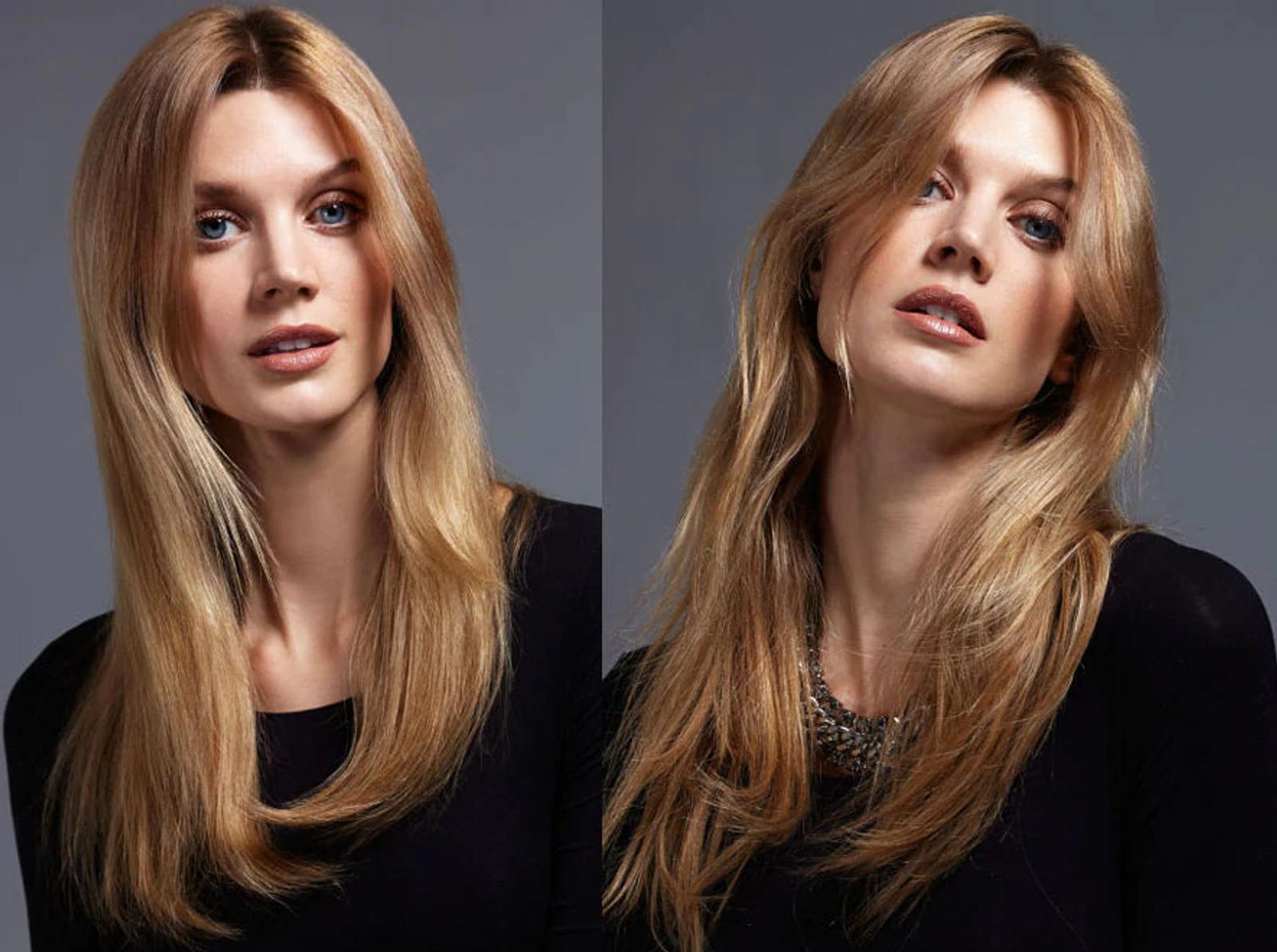 Image of Model with Smooth Hair and Image of Model with Unbrushed Hair
