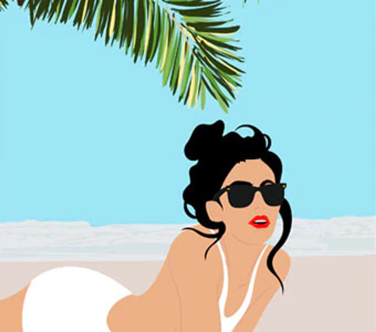 Illustration of Woman Lying on Beach
