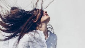 Model Flipping Hair