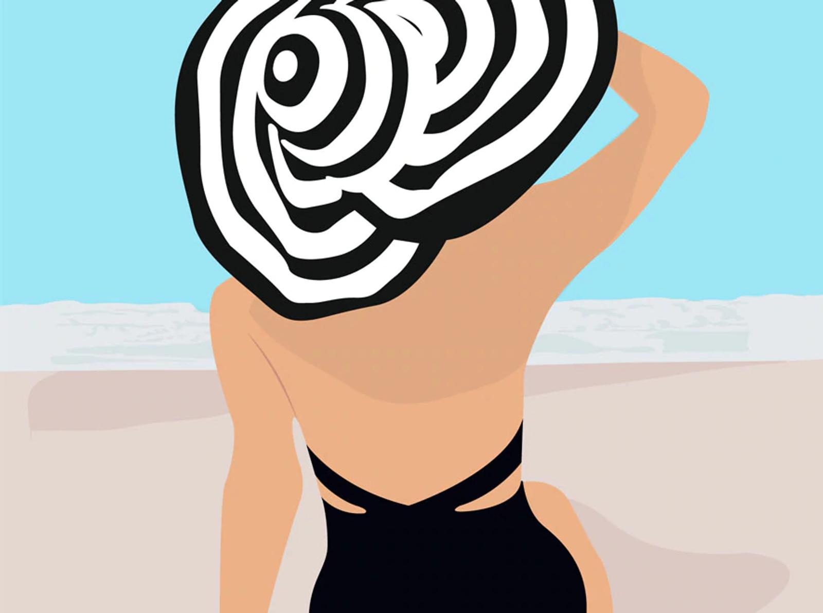 Illustration of Woman on Beach