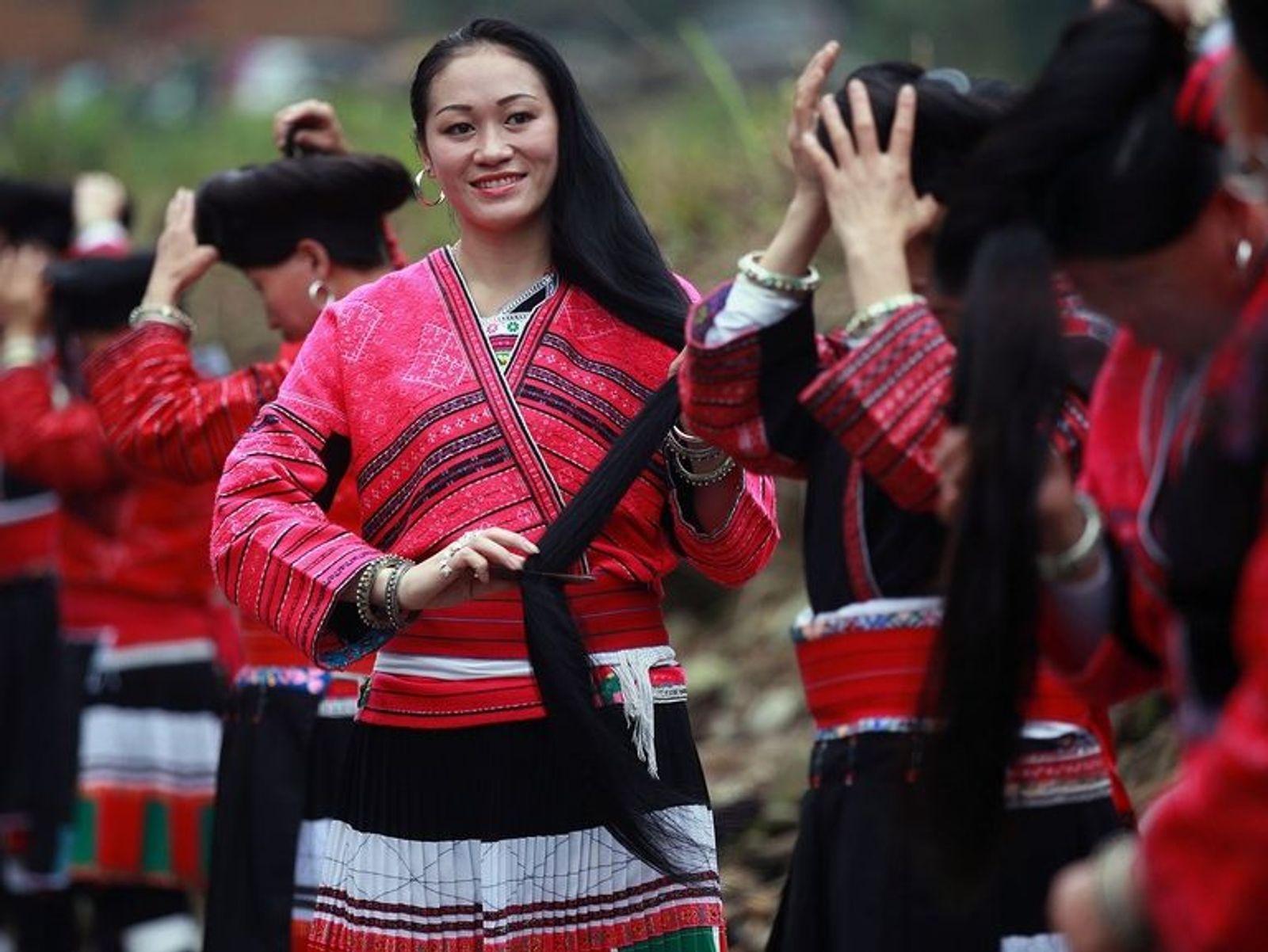 Yao Women of China with Long Hair
