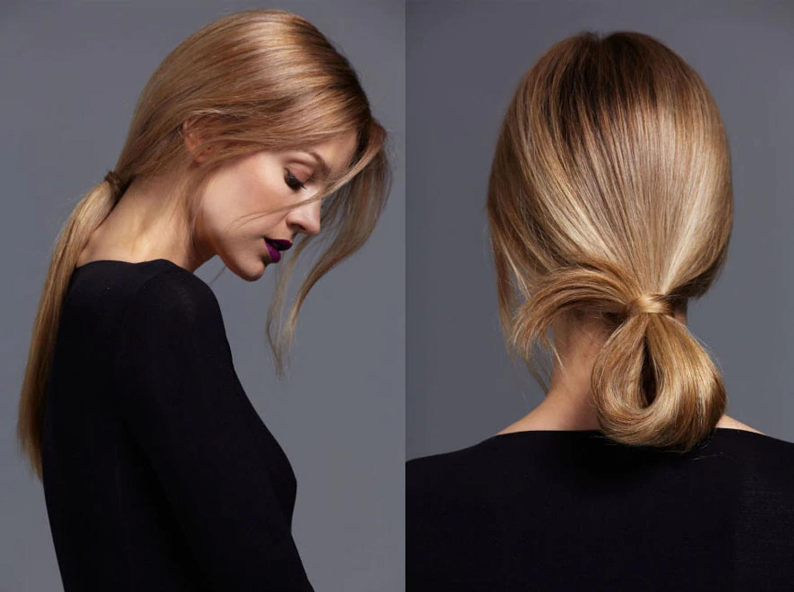 Image of Model with Ponytail and Image of Model with Loop Hairstyle