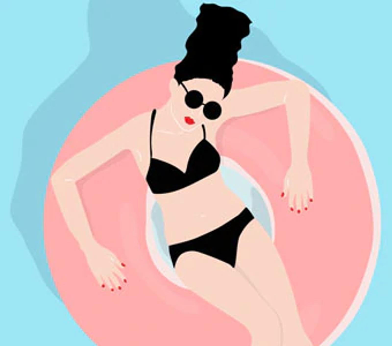 Illustration of Woman on Swim Float