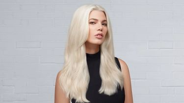 Model with dyed blonde hair