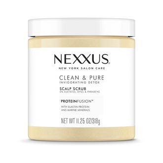 Front of Pack Nexxus Clean & Pure Scalp Scrub Protein Fusion NET WT 11.25 Oz / 318g