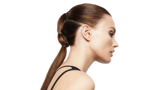 Model with Divided Hairstyle