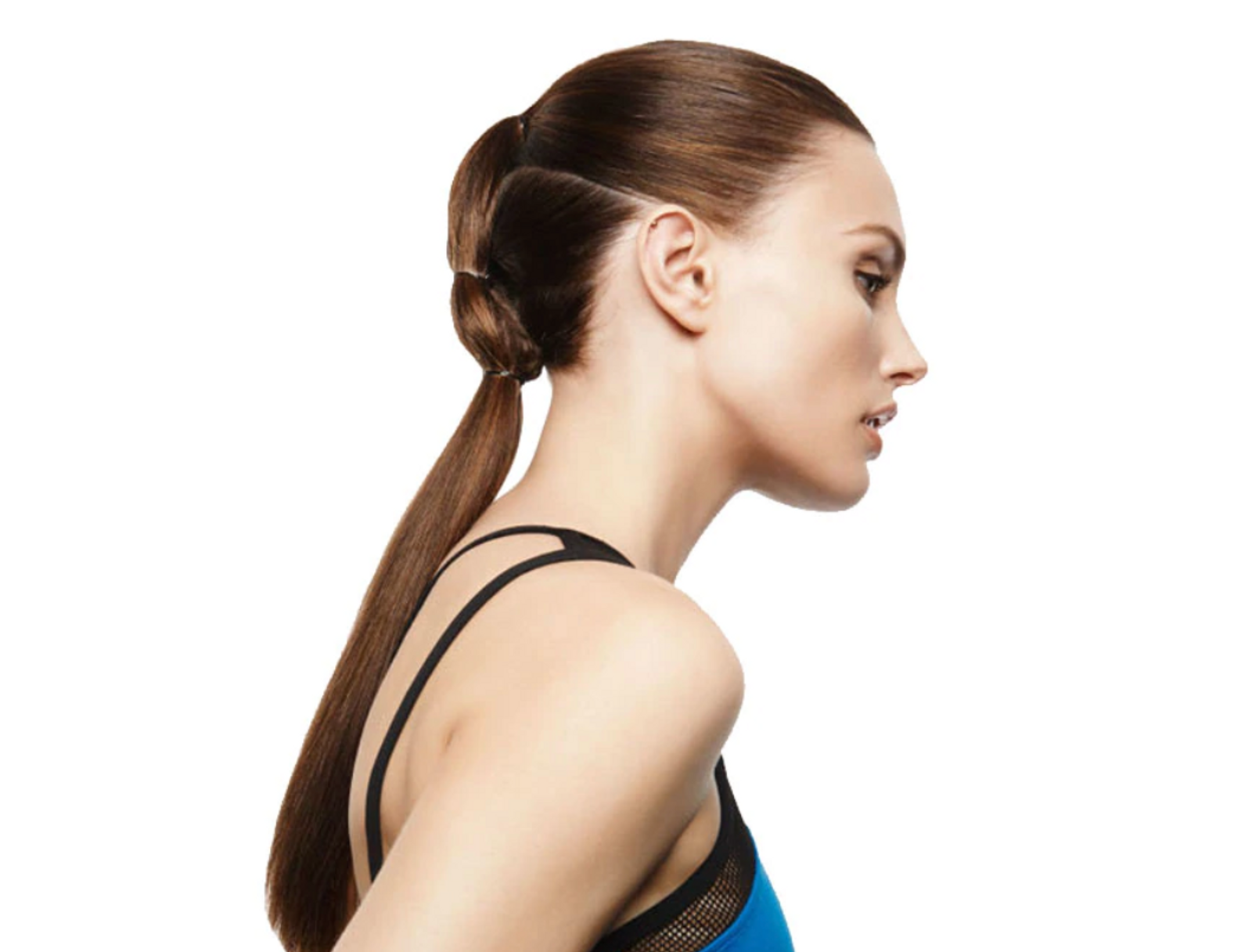 Girl with divided ponytail