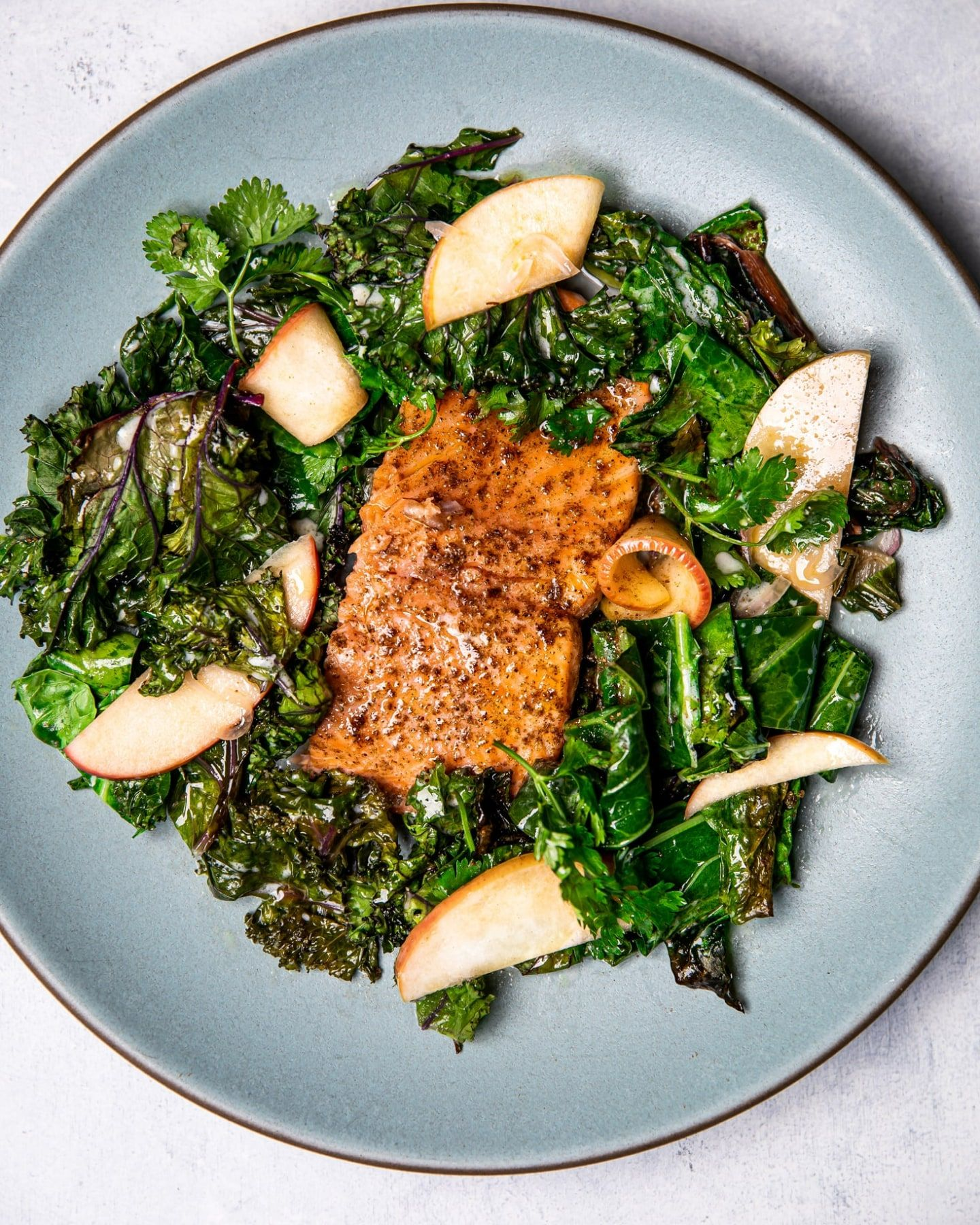 Warm Spiced Salmon & Coconut Greens