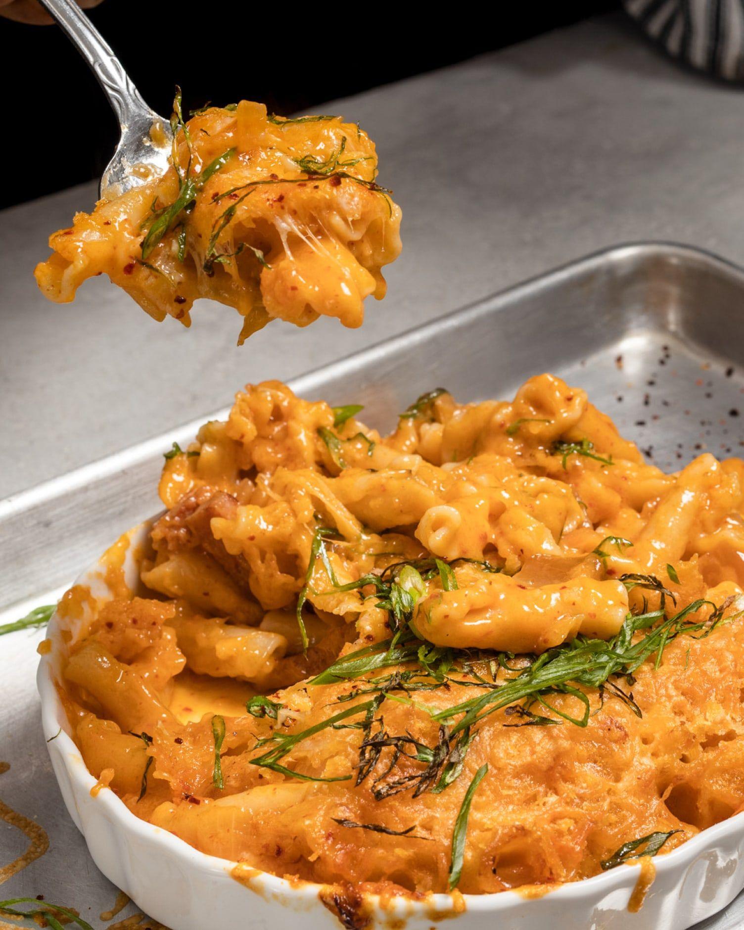 Gooey Kimchi Mac & Cheese