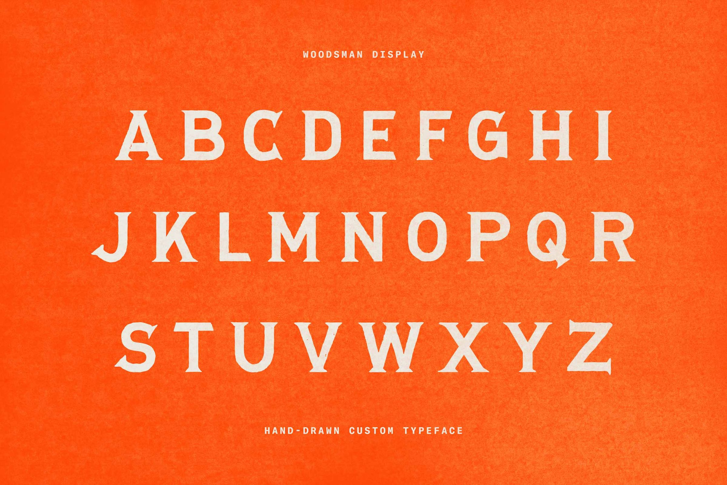 Woodsman Display hand drawn typeface