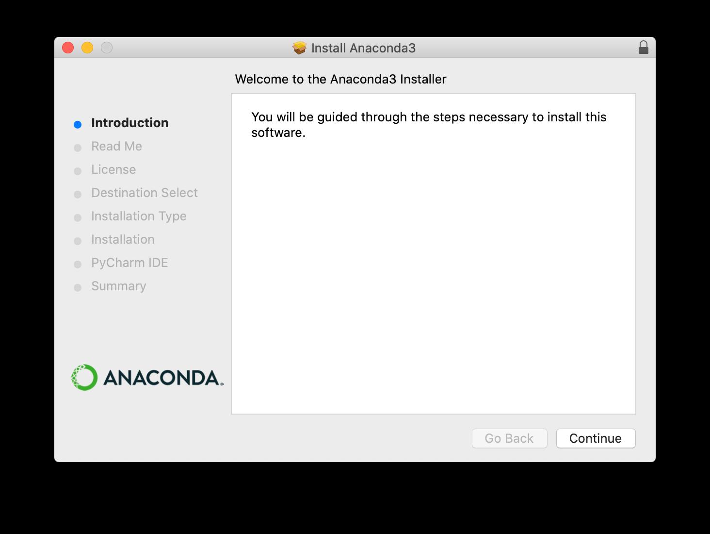 Anaconda installer screenshot step 2