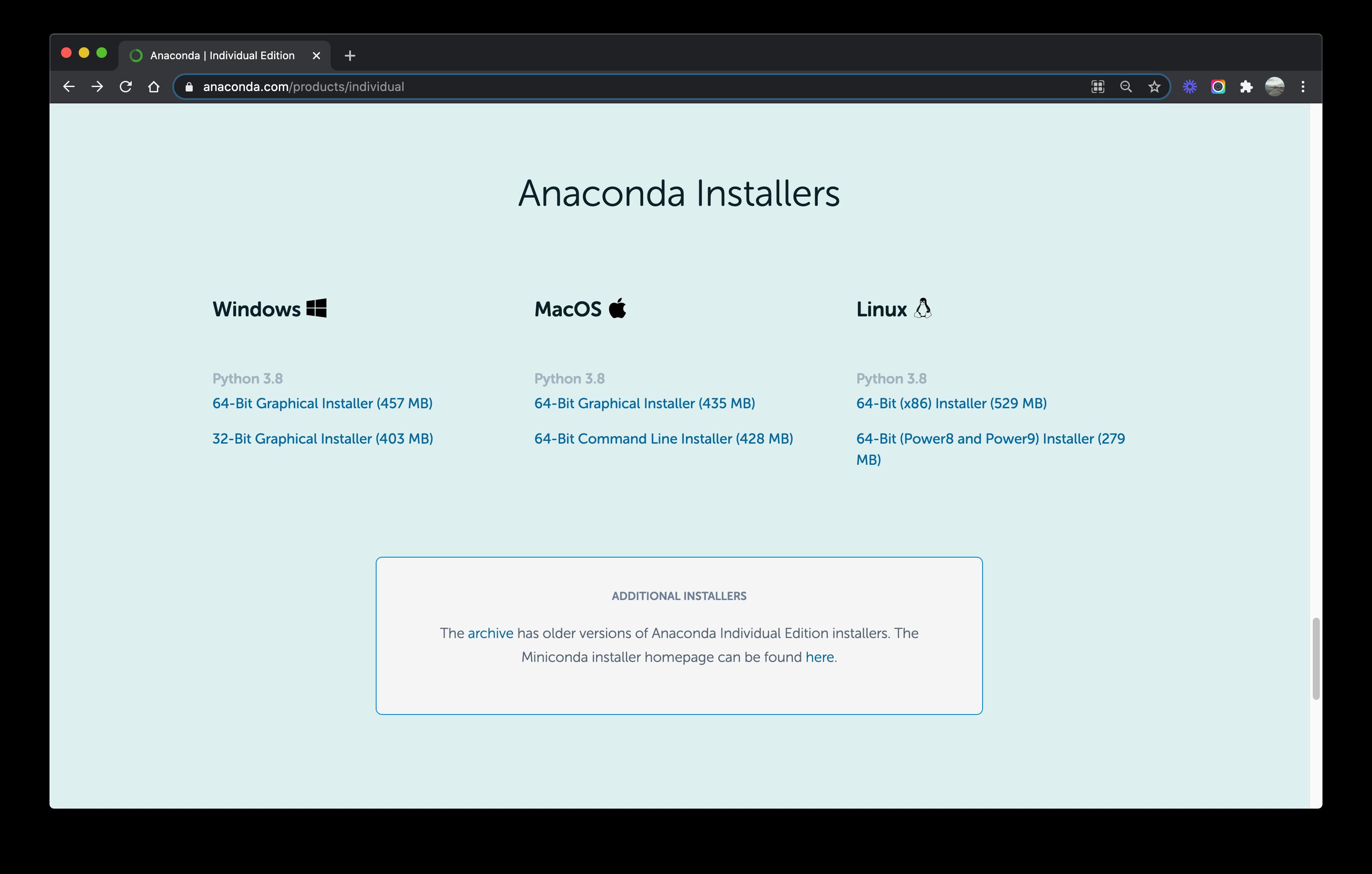 Anaconda installers screenshot