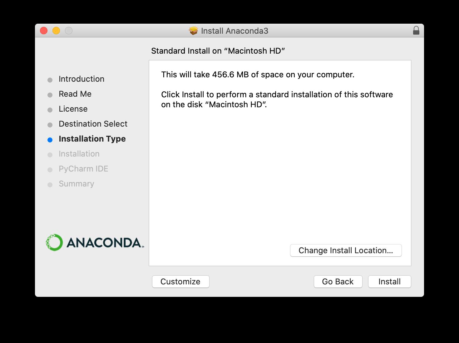 Anaconda installer screenshot step 4