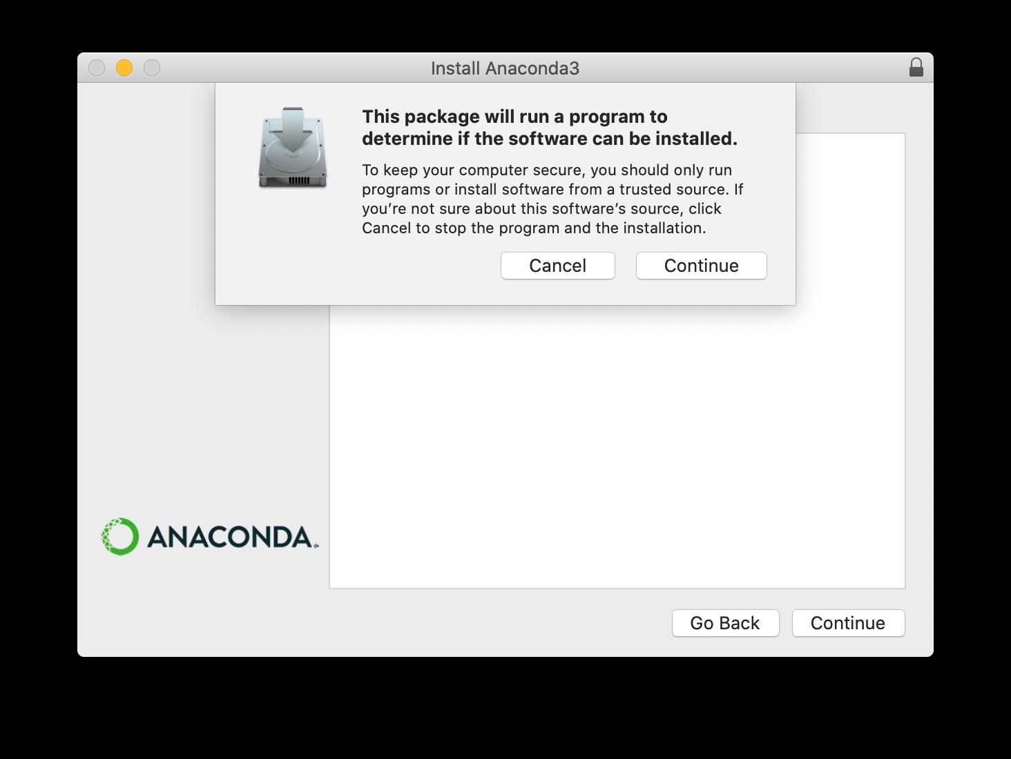 Anaconda installer screenshot step 1
