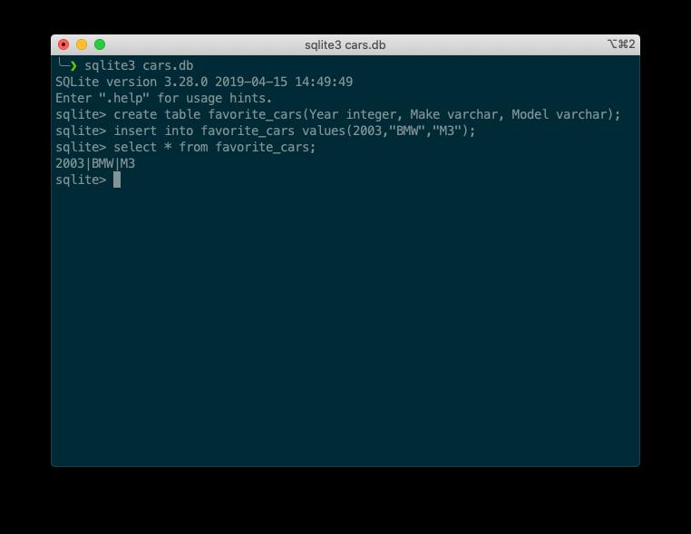 sqlite3 terminal database creation example
