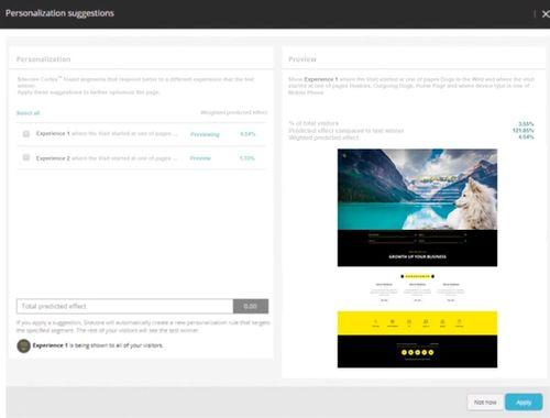 Screenshot Sitecore Personalization Suggestion