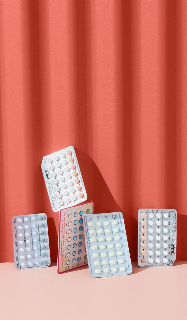 Packs of various birth control pill brands