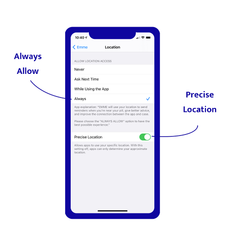 iOS 14+ location settings