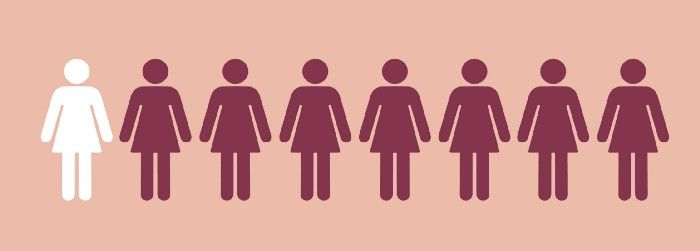 eight women figures standing in a line illustration