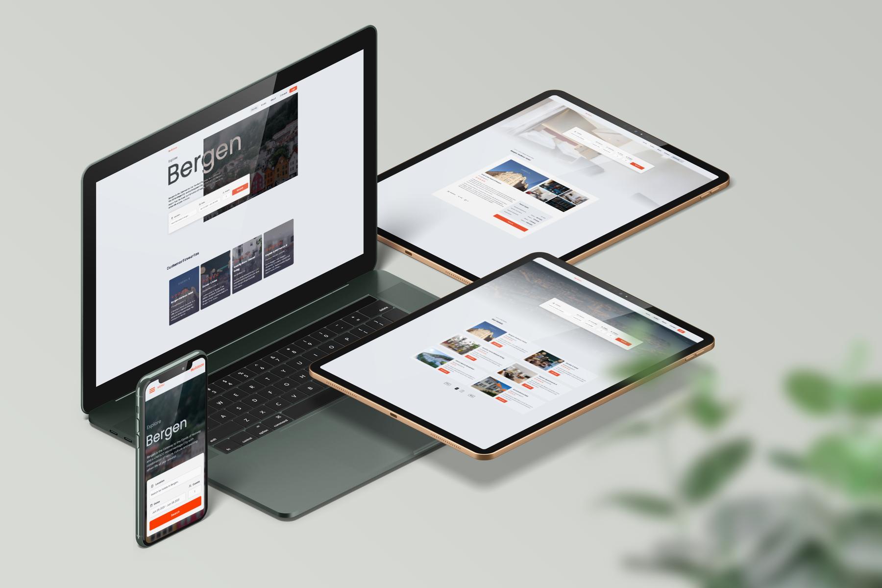 Mockup image of Holidaze website