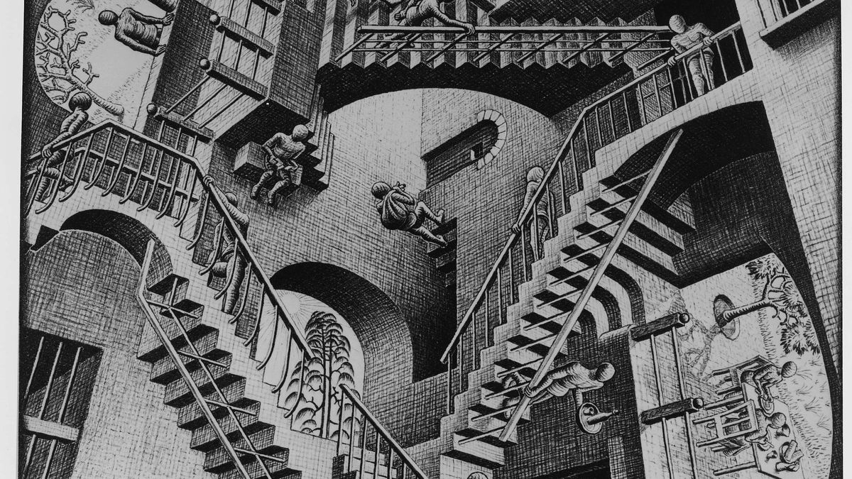 "A lithograph print by the Dutch artist M. C. Escher, titled ""Relativity."" It depicts a world in which the normal laws of gravity do not apply."