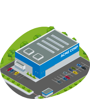 A commercial property with a car park. ACME Corp is written on the front of the building