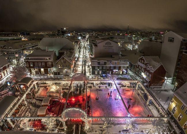 ice skating ring in downtown Reykjavik in december