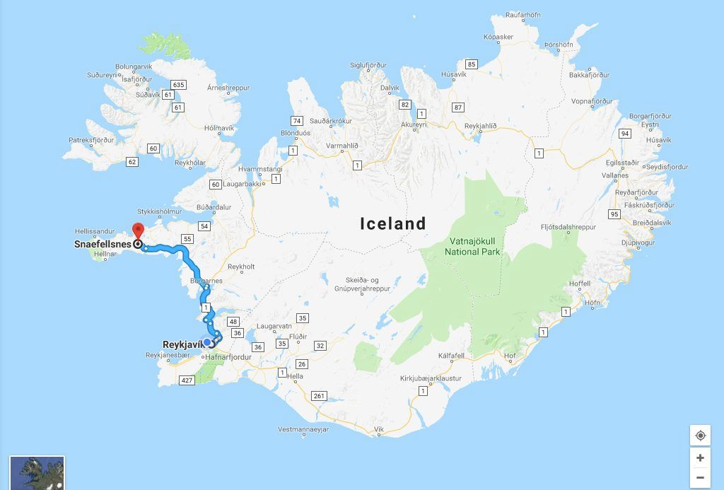 driving route from Reykjavik to Snæfellsnes