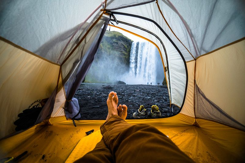camping outside of skógafoss waterfall