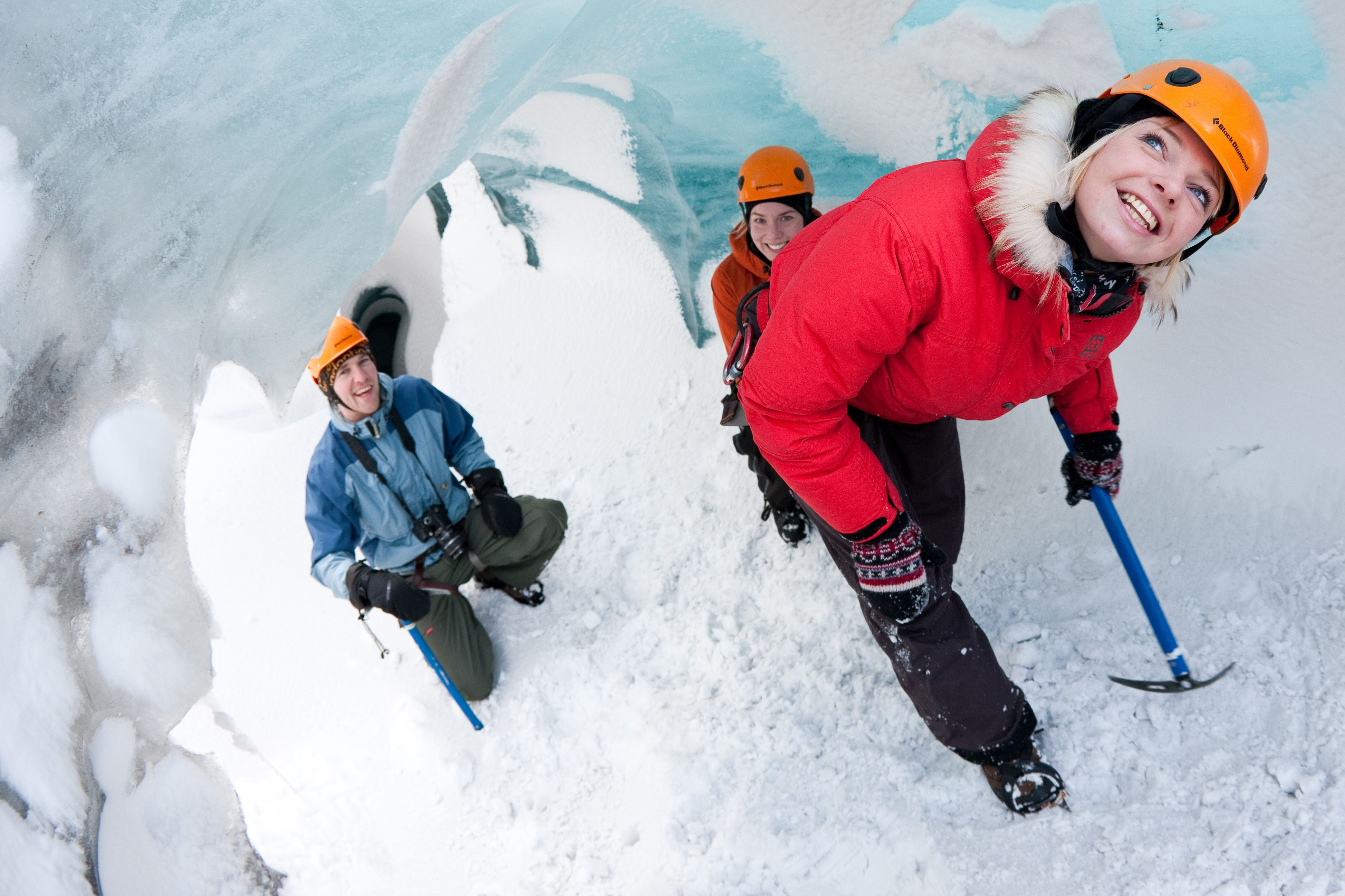 exploring an ice cave in iceland
