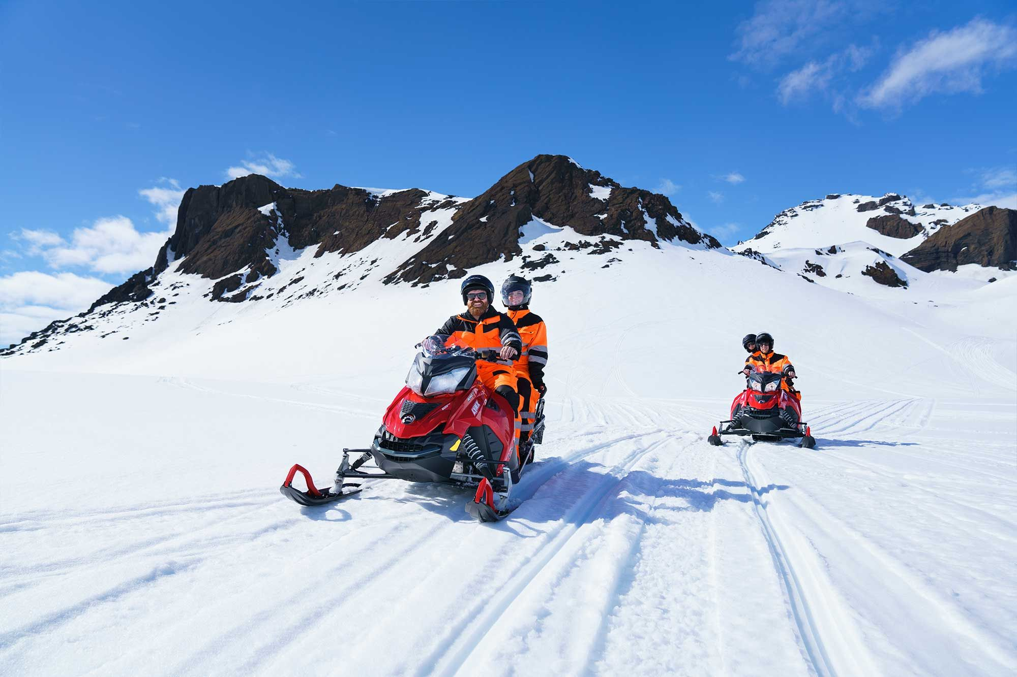 snowmobiling on langjökull glacier