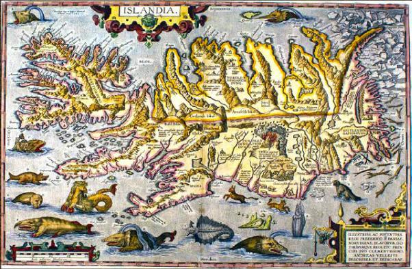 A map of Iceland from 1590, made by Guðbrandur Þorláksson.