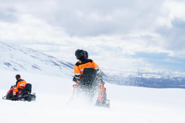 snowmobile on langjokull glacier