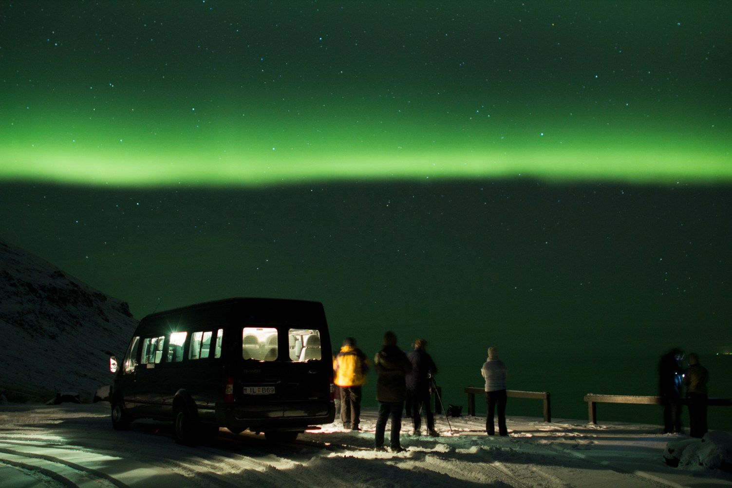 Visitors exploring northern lights in March