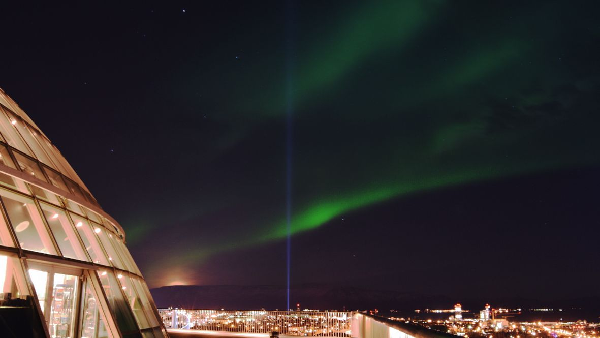 Northern lights seen from Perlan in downtown Reykjavik