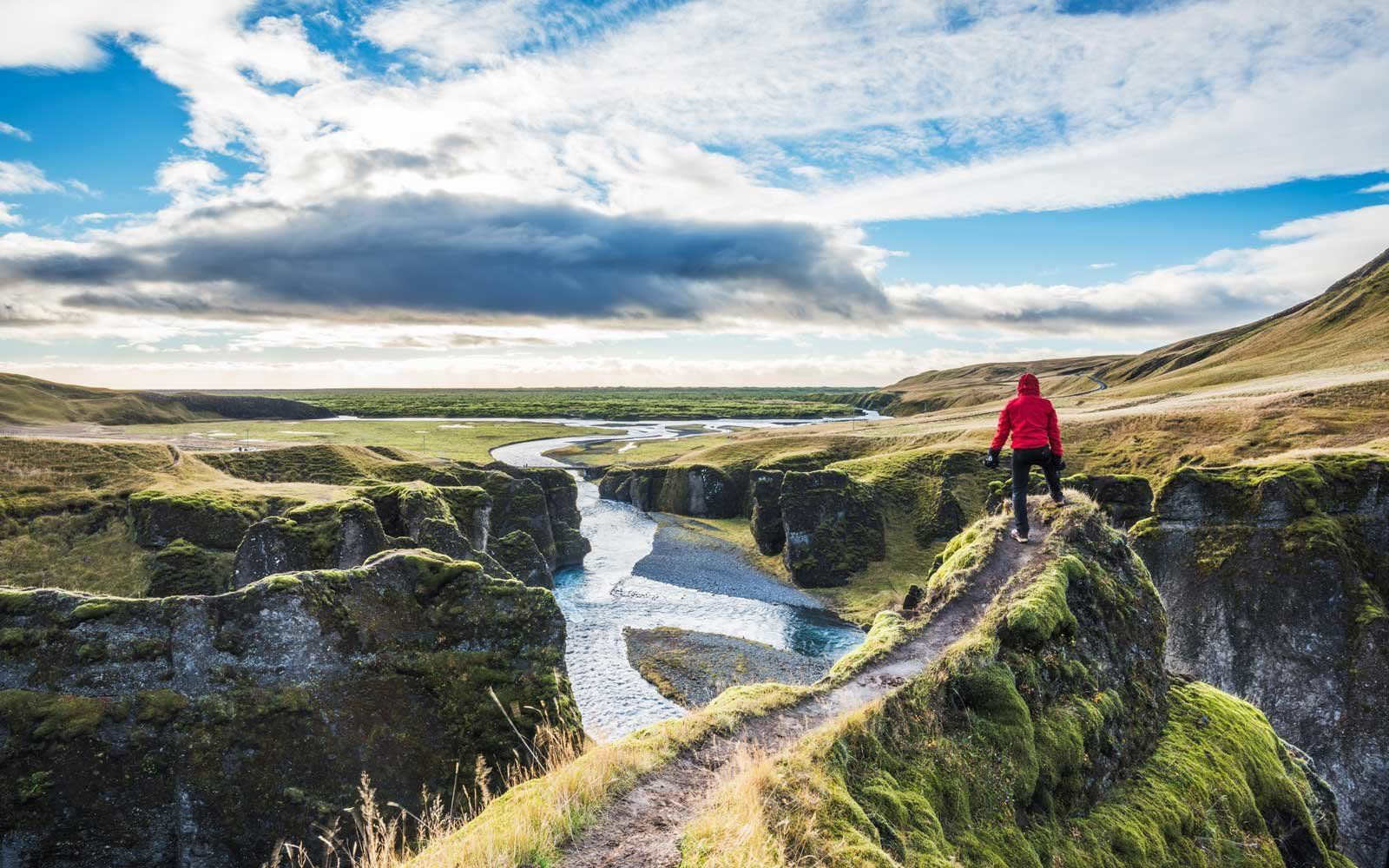 Hiking trails in Iceland during summer