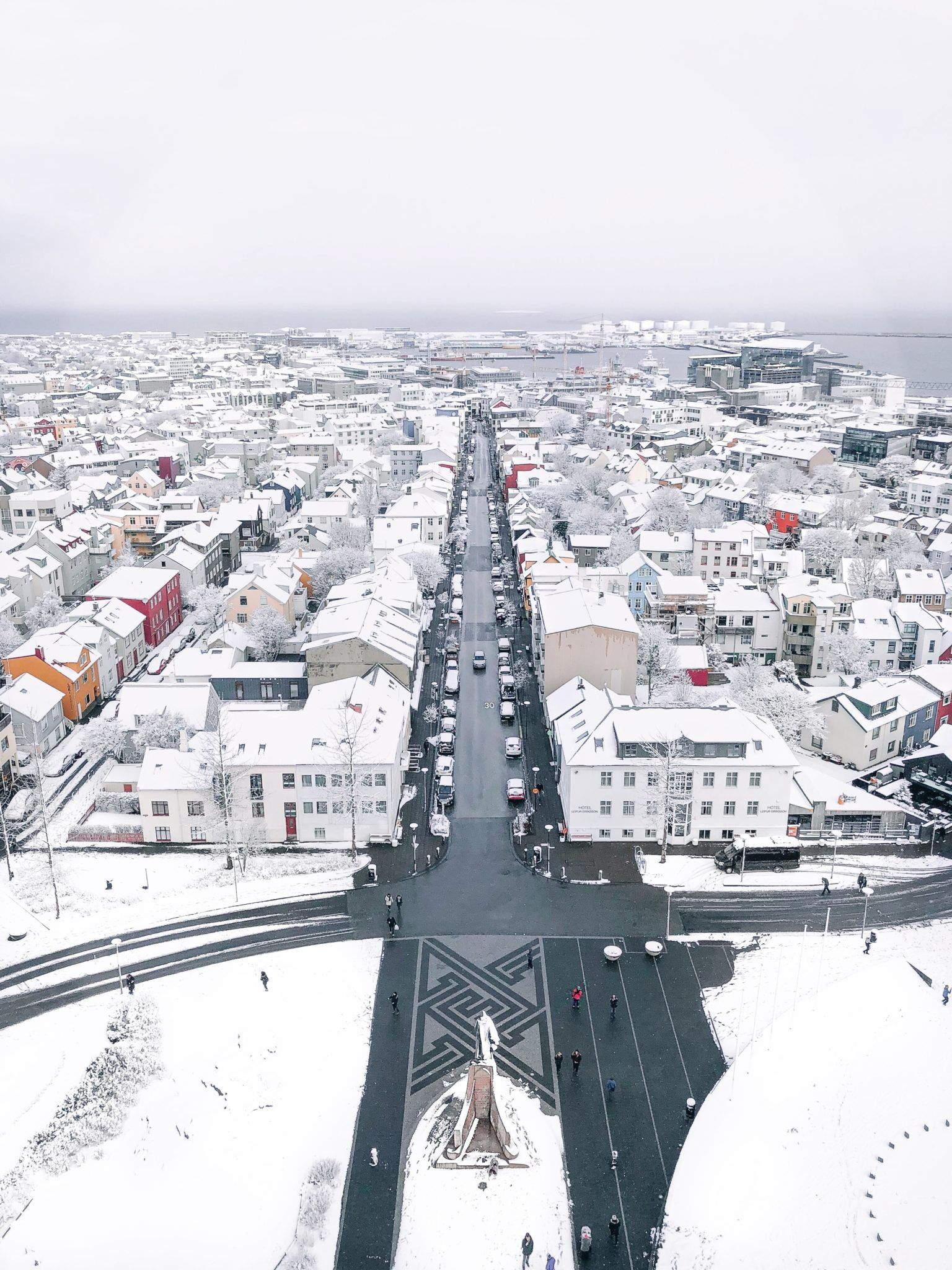 Arial shot of Reykjavik in march