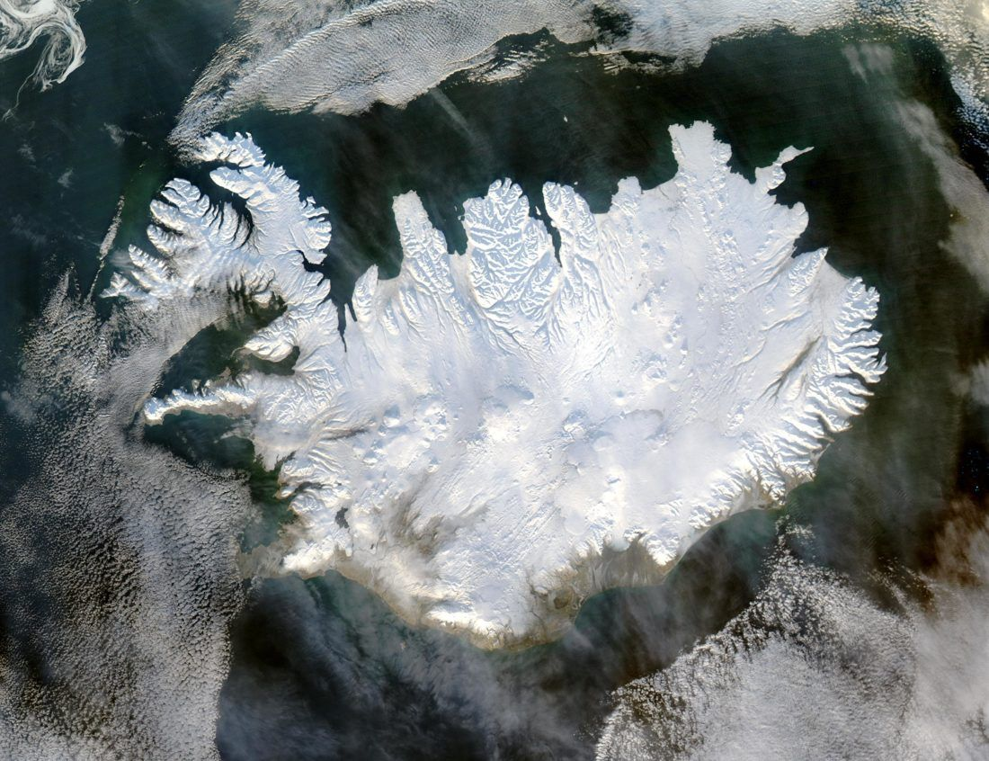 arial shot of Iceland during January