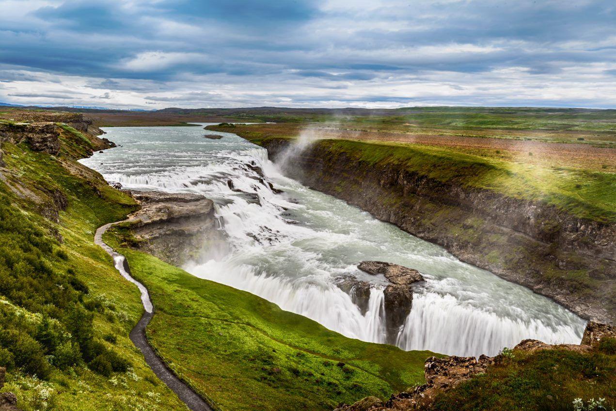 Gullfoss waterfall during summer