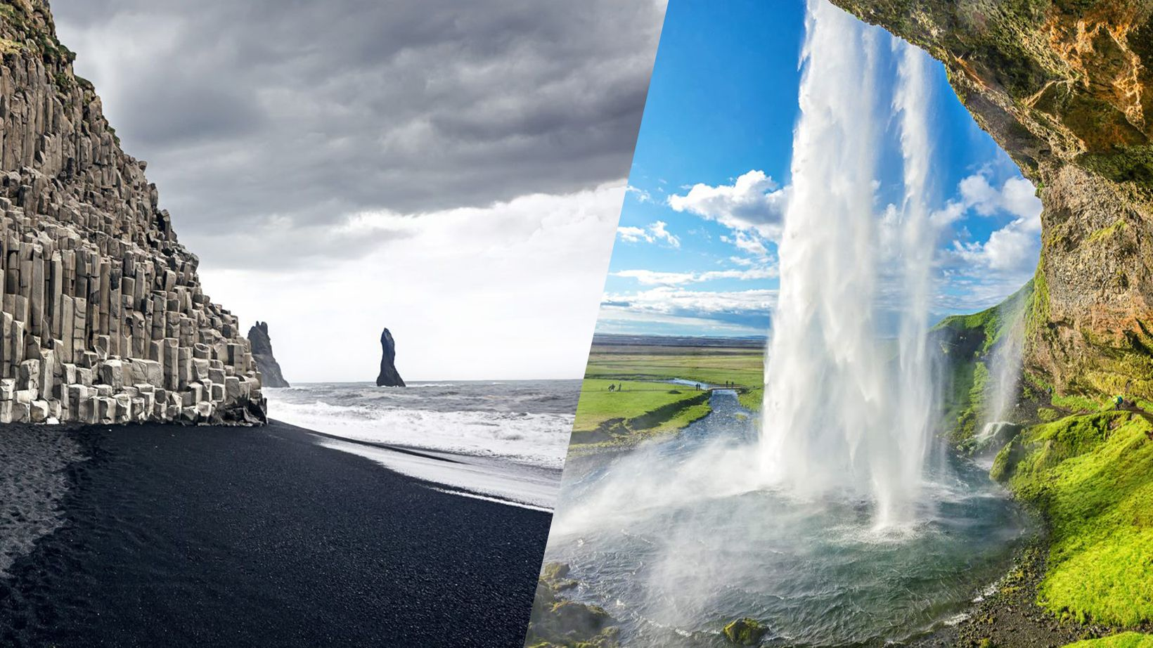 Black sand beach and seljalandsfoss in Iceland